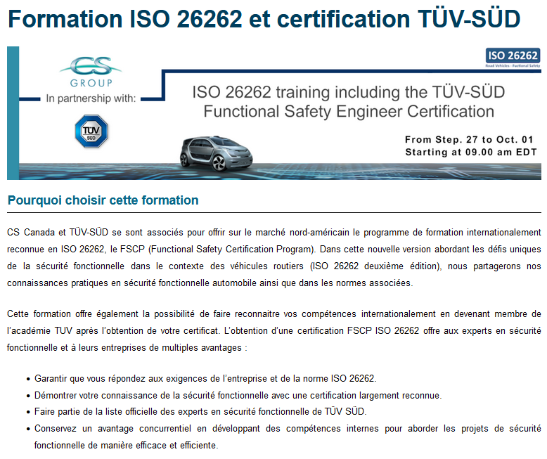 Feature image: ISO 26262 Training & TÜV-SÜD Functional Safety Certification
